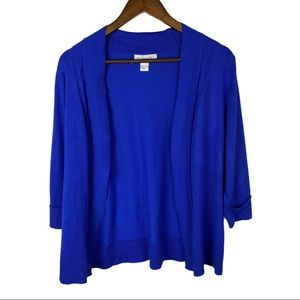 Christopher & Banks Blue Open Front Cardigan